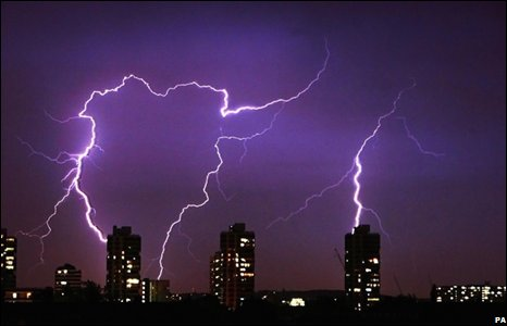 Lightning over blocks of flats in south London