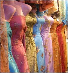 Dresses on sale in Sanaa market (Photograph: Ginny Hill)