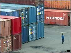 Shipping containers at an Indonesian port