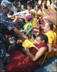 Police clash with Tibetan protesters in Kathmandu, Nepal, 7 August, 2008.
