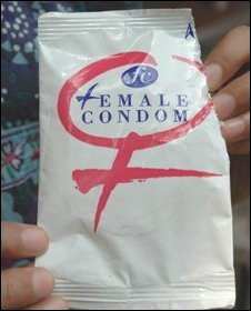 Female condom packet.