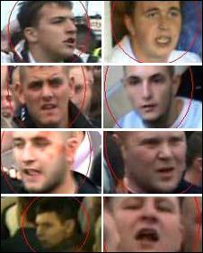 CCTV still of men suspected of football disorder