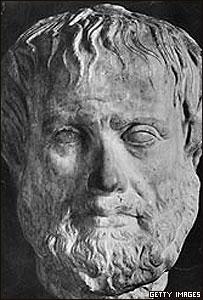 Cara esculpida de Aristóteles