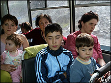 South Ossetian women and children arriving in Russia by bus, 3 Aug 08