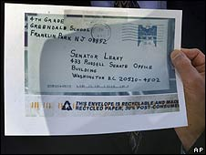 Copy of an envelope addressed to Senator Patrick Leahy that contained anthrax (file photo)
