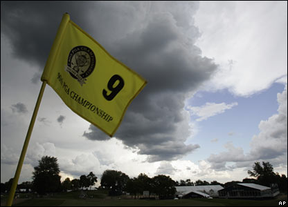 Clouds gather over the ninth hole at Oakland Hills