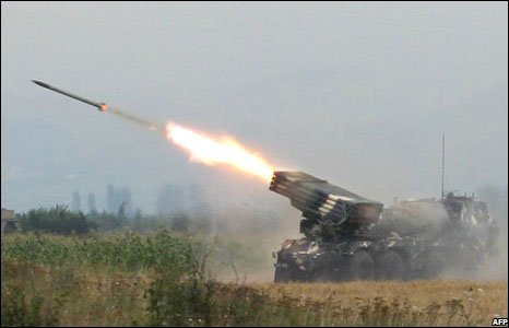 Georgian troops fire rockets at separatist South Ossetian troops near Tskhinvali on 8 August 2008