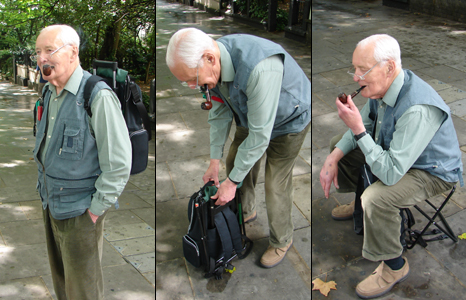 Tony Benn with rucksack bag