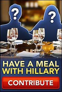 Aviso publicitario para una cena con Hillary Clinton