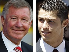 Man Utd manager Sir Alex Ferguson (left) and winger Cristiano Ronaldo