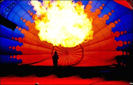 A hot air balloon is inflated in Bristol, England