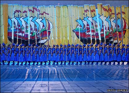 The Silk Road that linked China to the west is portrayed using a host of blue-robed oarsmen