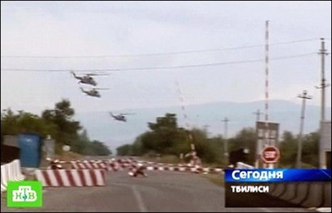 A still from Russian NTV shows Georgian helicopters flying over an unnamed location close to Tskhinvali, Georgia. (08/08/2008)