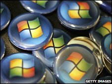 Windows logo on badges, Getty