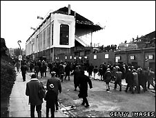 Fans arriving for a game at Highbury in 1972