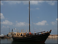One sail wooden boat