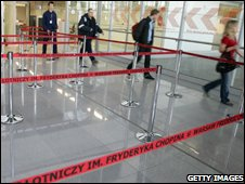 Passport control at Warsaw airport