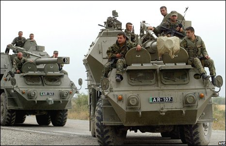 Georgian troops on armoured tanks near the town of Gori, Georgia. (08/08/2008)