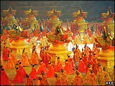 Dancers perform in the opening ceremony for the Beijing Olympics 2008