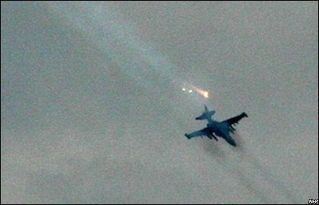 A Russian jet fires on a Georgian position near Tskhinvali, Georgia (08/08/2008)