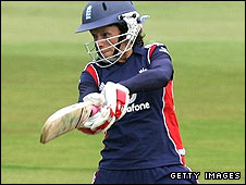 England women's opener Caroline Atkins on her way to scoring 145