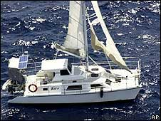 A police handout of the yacht found drifting off the coast of Australia