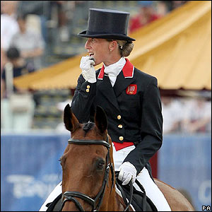 Great Britain's Daisy Dick on Spring Along after performing her dressage test