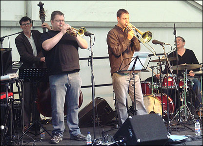 Trombonist Gareth Roberts and his quintet appeared on the Bishop's Garden stage dedicated to Welsh jazz musicians