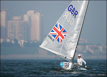 Ben Ainslie competes in the Finn class race