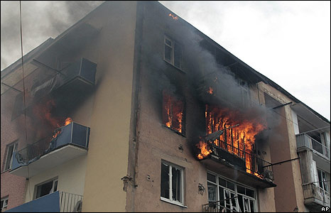 An apartment on fire in the Georgian town of Gori, supposedly hit by a Russian air strike