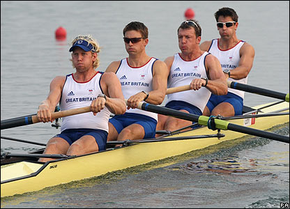Andy Triggs-Hodge, Peter Reed, Steve Williams and Tom James win the coxless four heat