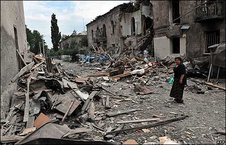 Scenes of devastation in Gori, 9 August