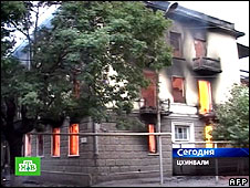 A house burns in Tskhinvali on 9 August (still from Russian TV channel NTV)