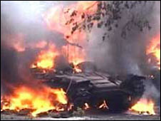 Video still from Russia's Channel One shows a Georgian tank burning in Tskhinvali (08/08/2008)