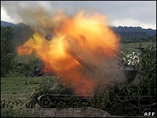 Russian artillery in action in the South Ossetian town of Dzhava on 9 August