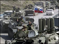 Russian armoured vehicles in the Ardon Valley heading for South Ossetia