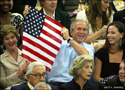 George Bush flies the flag in Beijing