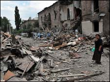 Bombed village in South Ossetia (9 August 2008)