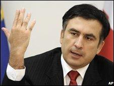 Georgian President Mikhail Saakashvili in Tbilisi on 9 August 2008