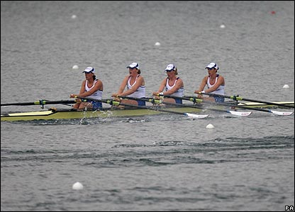 Katherine Grainger, Debbie Flood, Frances Houghton and Annie Vernon complete a commanding win in the women's quadruple scull semi-final
