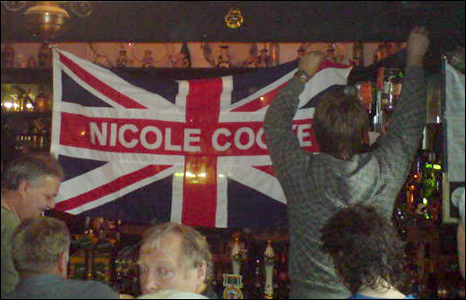 Flags were put up inside the Lamb and Flag pub to celebrate her win