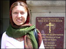 Woman outside church