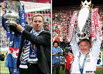 Portsmouth boss Harry Redknapp (left) with the FA Cup and Manchester United manager Sir Alex Ferguson with the Premier League trophy