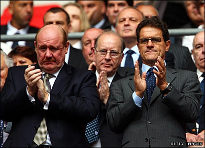 FA chief executive Brian Barwick (left) and England manager Fabio Capello