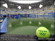 Rain hits the Olympic Tennis Centre