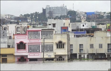 A view of houses immersed in flood water due to heavy rains in Hyderabad, India