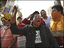 Opponents of Bolivia's President Evo Morales during protests in Tarija, Bolivia (5 August)