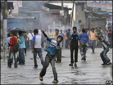 Muslim protesters in Srinagar