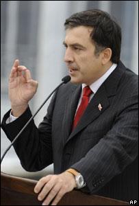 Mijaíl Saakashvili durante una conferencia de prensa.