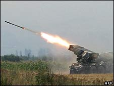 Georgian artillery firing at South Ossetian separatists, 8 Aug 08